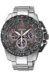 Seiko Prospex SOLAR Military Flight Computer Alarm Chronographs All Stainless Steel Case and Bracelet with a Grey Dial and Red Highlights (SSC315)