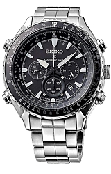 Seiko Prospex SOLAR Pilot's Flight Computer Chronographs Black Dial, All Stainless Steel Case & Bracelet (SSC629)