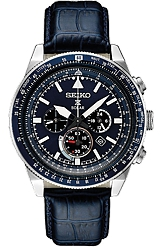 Seiko Prospex SOLAR Pilot's Flight Computer Chronographs Dark Blue Dial and Leather Strap (SSC631)
