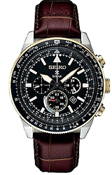 Seiko Prospex SOLAR Pilot's Flight Computer Chronographs Black Dial, Steel Case with Goldtone Highlights, Brown Leather Strap (SSC632)