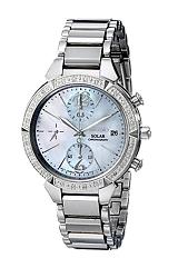 Seiko Ladies Diamond Solar Chronograph Watches Stainless Steel Case & Bracelet, 24 Diamonds, Mother of Pearl Dial (SSC867)