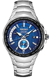 Seiko Coutura SOLAR Radio Sync Dual Time Watches Blue Dial, Stainless Steel Case and Bracelet (SSG019)