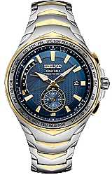 Seiko Coutura SOLAR Radio Sync Dual Time Watches Blue Dial, Two-tone Steel Case & Bracelet (SSG020)