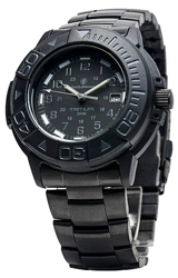 Smith & Wesson Diver - 900 Series - Tritium Illuminated and Bonus Watchband BLACKOUT Design, Black on Black Dial (SWW-900-BLK)