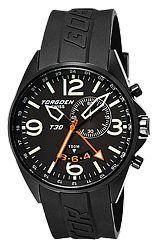 Torgoen Swiss T30 Collection ZULU Time Alarm Pilot's Watches Black Dial, Black PVD Steel Case & Rubber Dive Strap (T30301)