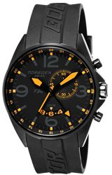Torgoen Swiss T30 Collection ZULU Time Alarm Pilot's Watches Blackout Style Black Dial with Orange Markers and Hands, Dive Strap (T30304)