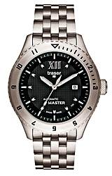 Traser Master 25 Jewel Automatic (Selfwinding) Watch Blue Tritium, Black Dial, Stainless Steel Bracelet (TCAMSS)