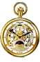 Charles-Hubert Paris Grand Complication Dual Time 17 jewel Pocket Watch Gold-tone IP Stainless Steel Case, Dual Time, Sun-Moon Window, Skeleton Cut-Away Dial,