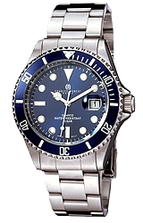 Charles-Hubert Paris Classic Design Stainless Steel Blue Dial Watches Blue Dial & Bezel, Stainless Steel Case & Bracelet (XWA2895)