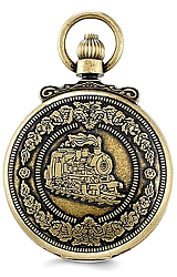 Charles-Hubert Paris Railroad Pocket Watch, Antique Closed Cover Design Antique Goldtone Finish, Antique Dial, Closed Cover (XWA3352)