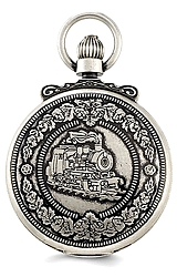 Charles-Hubert Paris Railroad Pocket Watch, Antique Closed Cover Design Antique Pewter Finish, Antique Dial, Closed Cover (XWA3353)