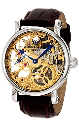 Charles Hubert Premium Collection 17 jewel Skeleton Mechanical Watch Goldtone Movement in Steel Case, Leather Strap (XWA4294)