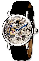 Charles-Hubert Paris Premium Collection 17 jewel Skeleton Mechanical Watch Silvertone Movement in a Steel Case, Leather Strap (XWA4295)