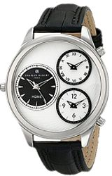 Charles-Hubert Paris Triple Time Zone Watch White Dial with Black Subdials, Steel Case & Leather Strap (XWA4801)