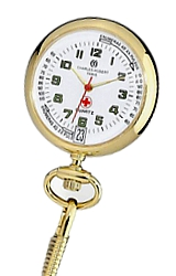 Charles-Hubert Paris EMT & Nurse's Pulsometer Watches White Dial, Goldtone Case, Includes chain and pin to attach to uniform (XWA4892)