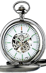 Charles-Hubert Paris Skeleton 17 jewel Pocket Watch with Tritium Dial and Closed Cover Case