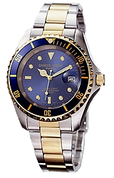 Charles-Hubert Paris Classic Design Stainless Steel Blue Dial Watches Blue Dial and Bezel, Two-tone Steel Case & Bracelet (XWA590)