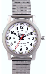 Citadel Railroad Wrist Watches with Nitelite, Push-Button Back Light White Railroad Dial, Backlight, Steel Bracelet (XWA6166)